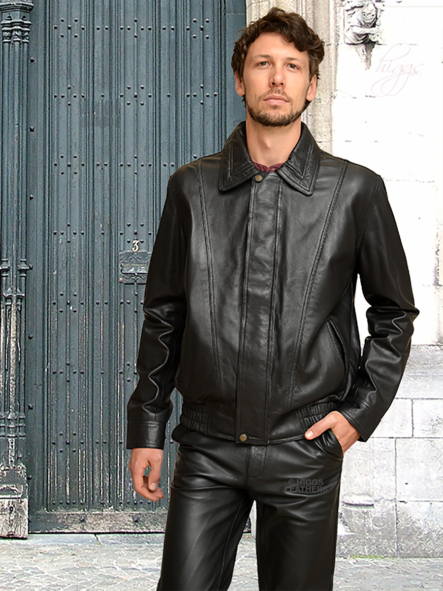 Higgs Leathers {NEW!}  Billy (men's Black Leather Blouson jackets)